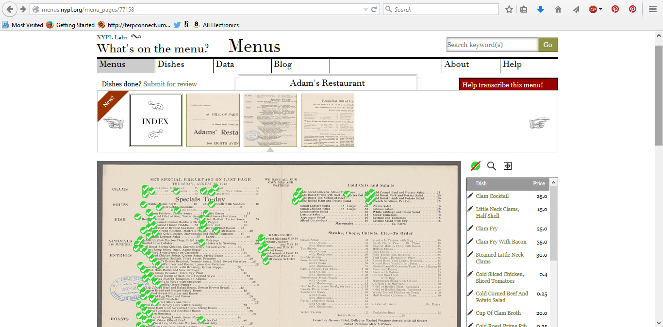 Figure 3. An individual page from a menu.  The green check marks indicate a menu item that has already been transcribed.