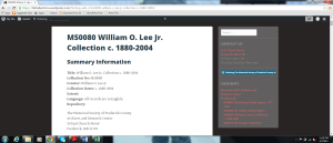 William O. Lee Jr. Finding Aid