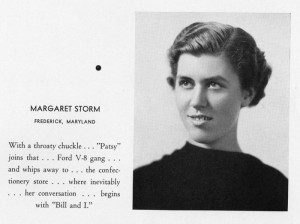 Margaret Culler Storm Moore, in the 1938 Touchstone yearbook of Hood College.