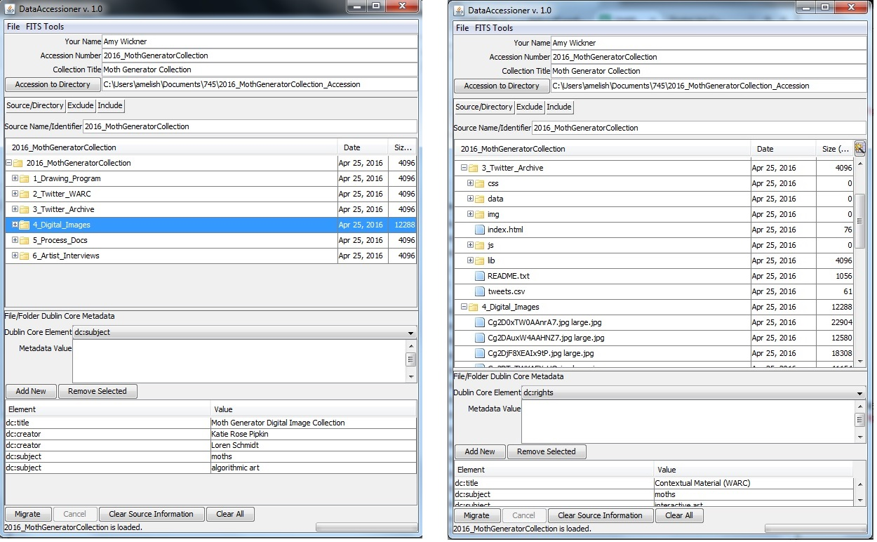 Entering metadata (left) and looking over file structure (right) in DataAccessioner.