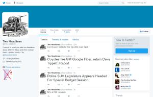 Screenshot of Two Headlines on Twitter