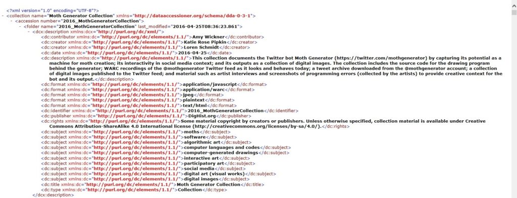 Collection-level metadata (DC) created with DataAccessioner.
