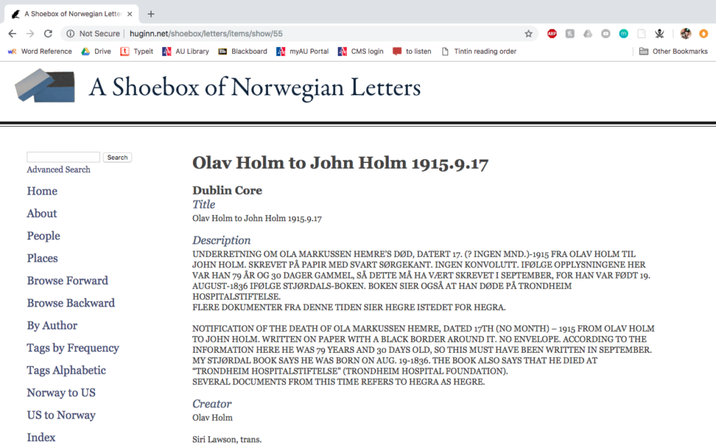 "Sample page from ""A Shoebox of Norwegian Letters"""