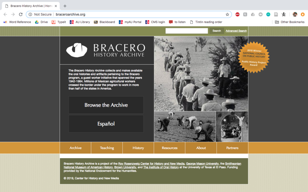Bracero History Archive home page