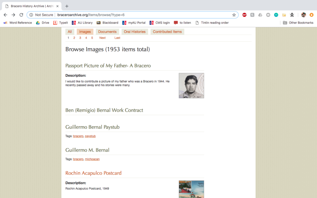 Object page for a Bracero History Archive item