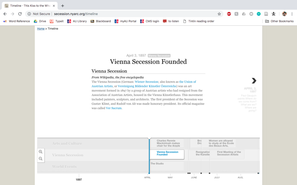 Klimt and the Vienna Secession timeline