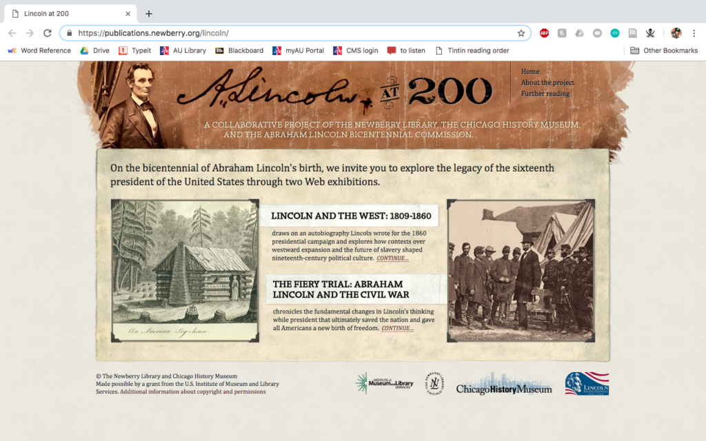 Lincoln at 200 home page