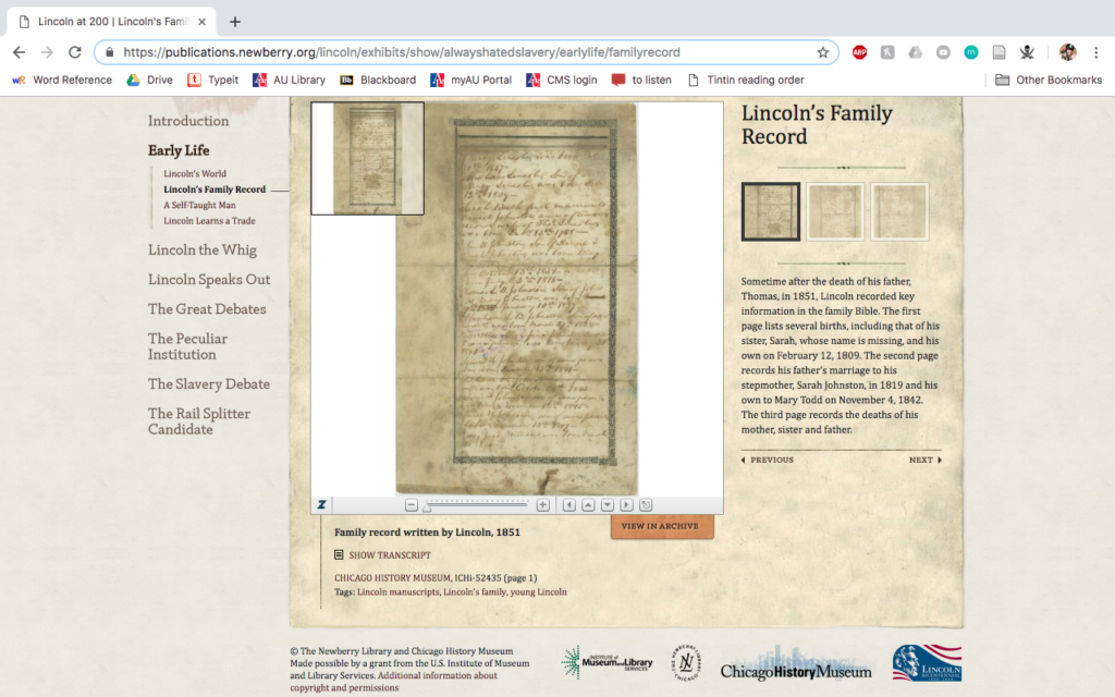 Lincoln at 200 document page