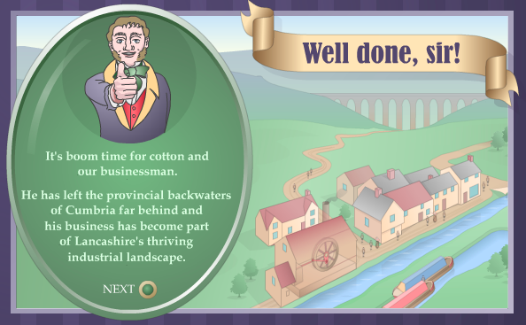 "Image from the game, a Victorian industrialist is giving a thumbs-up while a green circle describes the outcome of the game. A scroll of text boldly declares ""Well done, sir!"""